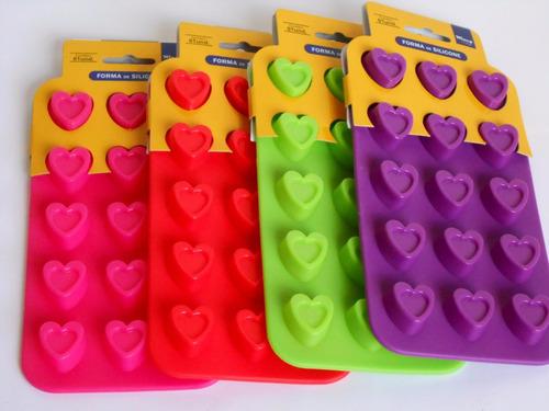 3 formas silicone 15 corações p/chocolates e bombons  (fp)
