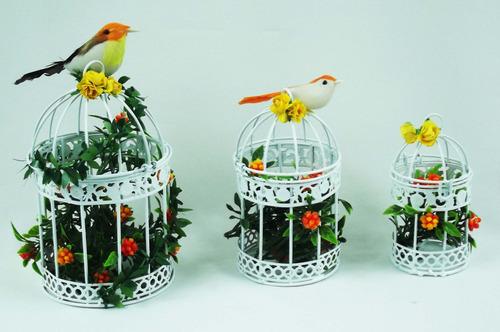3 gaiolas + passarinhos + flores = decorativa ferro vintage