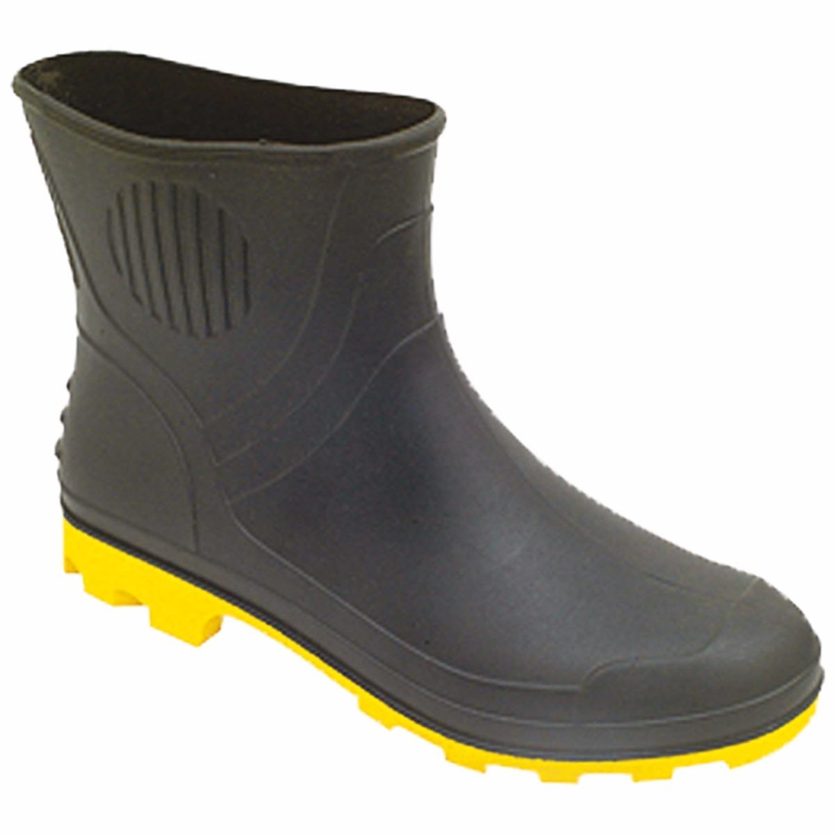 18844cd6746 3 galocha de chuva bota de borracha pvc cano curto prt. Carregando zoom.