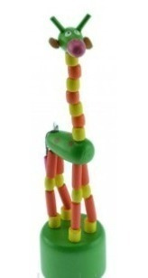 3 girafa de madeira articulados por elástico