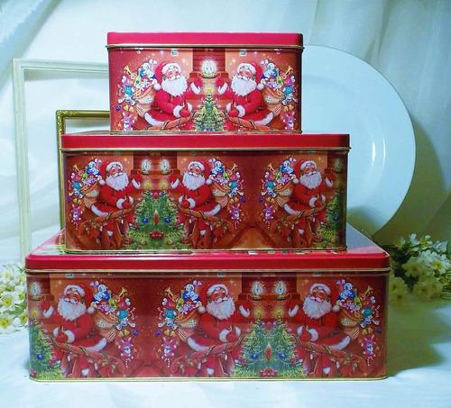 3 hermosas cajas metálicas navidad, precio por las tres