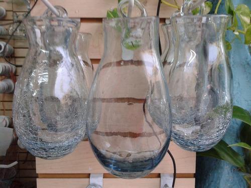 3 hermosas macetas tipo gota vidrio soplado de pared