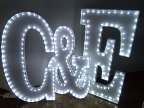 3 iniciales letras 60 cm luces led polyfan nombres luminosos