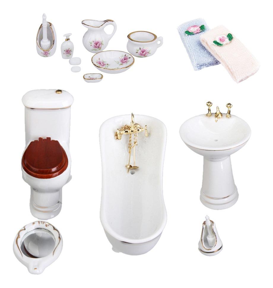 Casa de muñecas en miniatura 1//12th escala Cepillo de Inodoro de porcelana y Soporte
