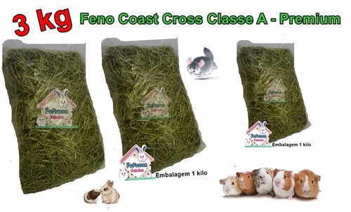 3 kg de feno coast cross premium  coelhos/ porquinhos