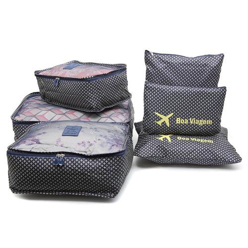 3 kit organizador de mala 6 peças cada p/ viagem necessaire