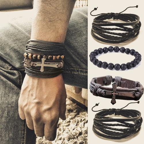 3 kits de pulseiras masculinas de couro olho de tigre