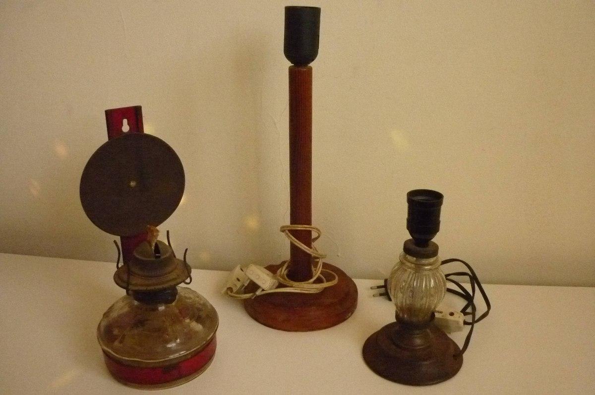3 l mparas antiguas kerosene y 2 el ctricas - Venta de lamparas antiguas ...