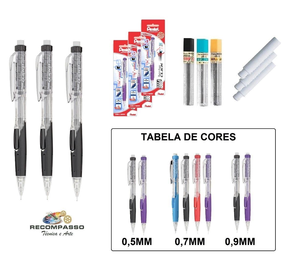 3 Lapiseiras Técnicas Twist Eraser Click Pentel Frete R$ 20