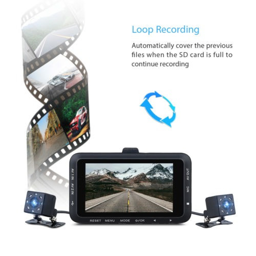 3 lcd coche moto montaje acción 0.3mp dual hd cámara video
