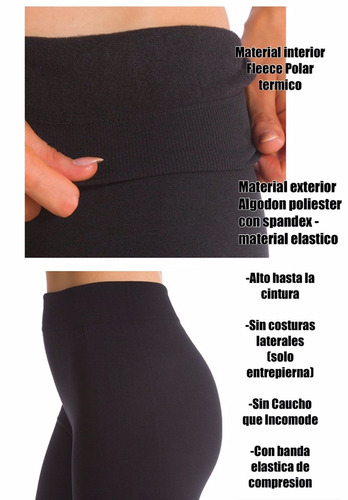 3 leggins invierno pantalon termico combo x 3 negros
