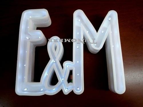3 letras 15 cm nombre luz led polyfan casamiento cumpleaño