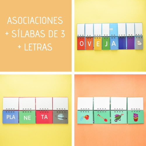 3 libros móviles: asociaciones + letras + silabas de 3