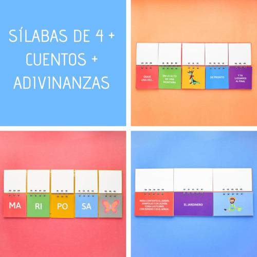3 libros móviles: silabas de 4 + cuentos + adivinanzas