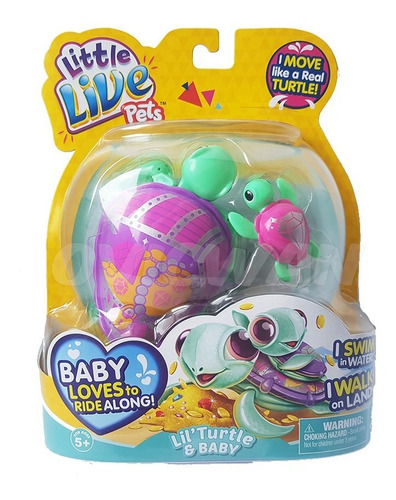 3 little live pets tortugas lil turtle & baby moose tortuga
