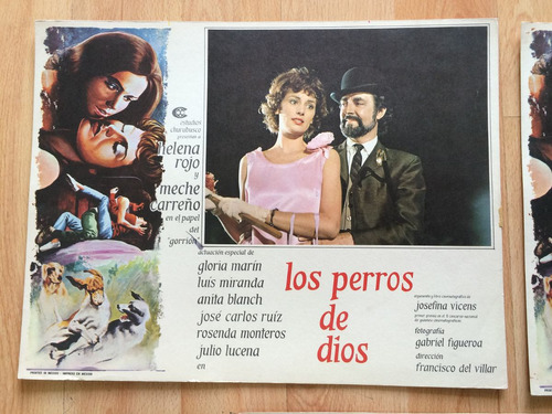3 lobby cards perros dios rojo carreño marin miranda 1974 .
