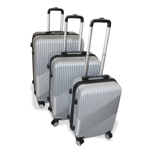 3 maletas rígidas plateada con ruedas 360º antirrobo r3771