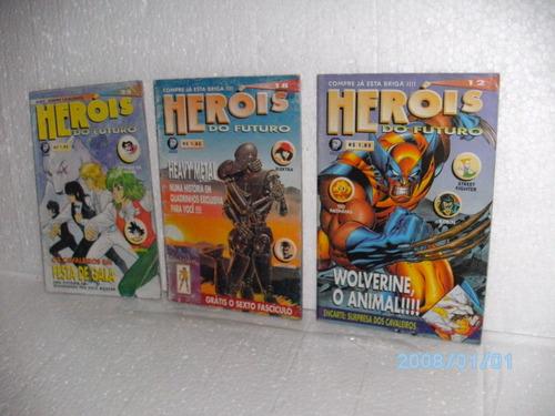 3 mangá revista heróis do futuro nºs12-18-25 equipe fj
