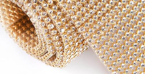 3 manta de strass 22x1,20 dourada de 1º linha alto brilho