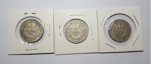 3 moedas de prata 2000 réis 1924/30/34
