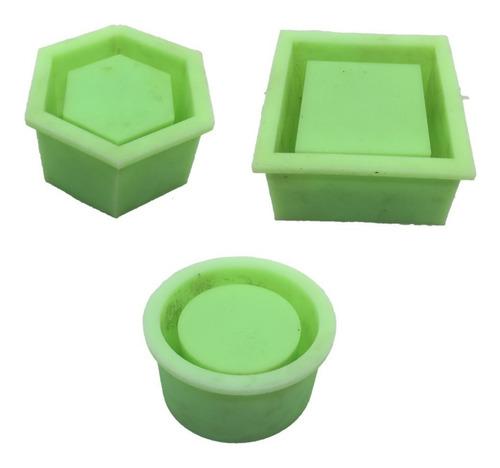 3 moldes de silicona para macetas,mediano, hexa., cilindro, cubo