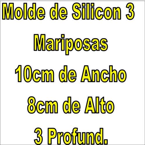 3 moldes silicon individual mariposa ponqu vela 10x8x3