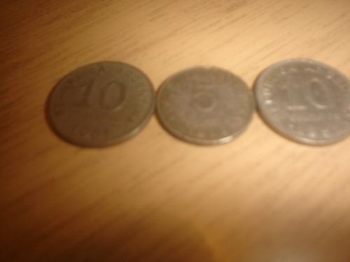 3 monedas 5 y 10 ctvos. 1953/52/51 - rep. argentina