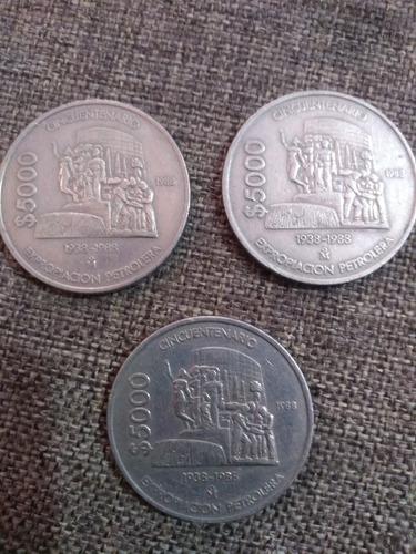 3 monedas $5,000 pesos cincuentenario 1938-1988