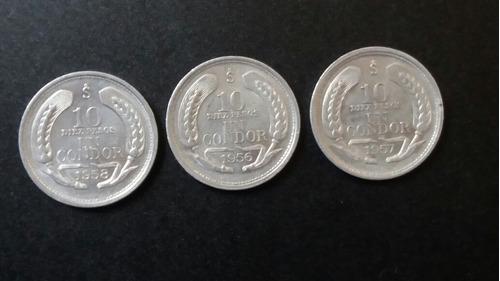 3 monedas chile 10 pesos 1 condor 1956 - 57 - 58 (22w2