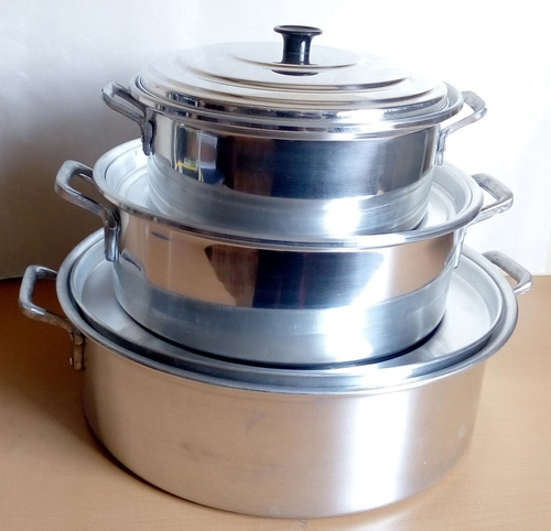 3 ollas budineras arroceras de aluminio