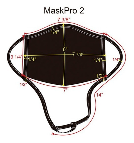 3 pack cubrebocas ajustable, corte anatómico - blanco m2