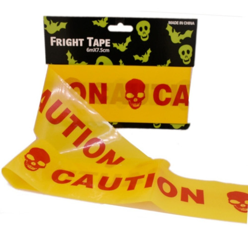 3 pack - decoración para halloween cinta de precaución amarillo c/ rojo