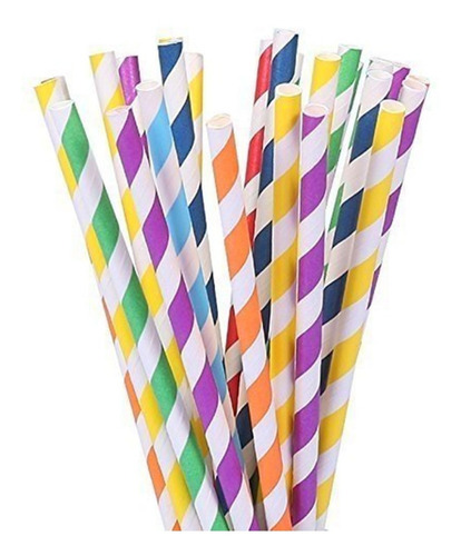 3 packs 25 sorbete pajita fiesta cotillón cumpleaños colores