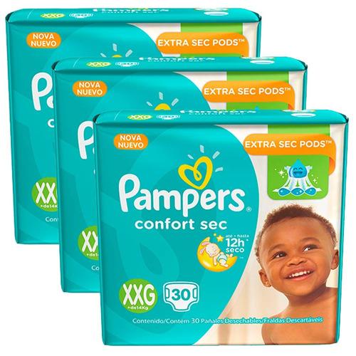 3  pacotes de fralda pampers confort sec xxg - 90 unidades
