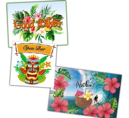 3 painéis poster decoração festa havaiana - good vibes aloha