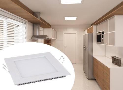 3 painel plafon luminaria led quadrado frio ultra slim 12w
