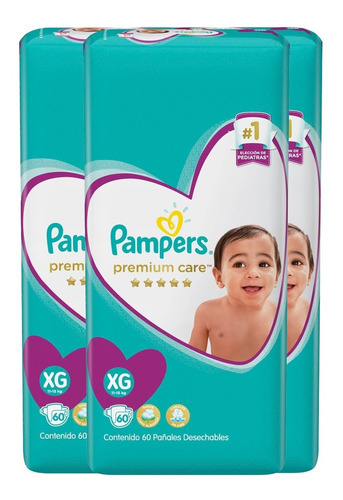 3 paquete pañales pampers premium care 204 unidades talla xg