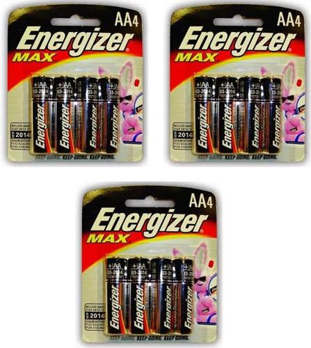 3 paquetes con 4 pilas energizer max alcalina aa e91bp-4