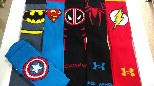 3 pares calcetas asics nike under armour mizuno super heroes