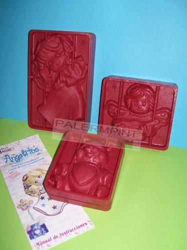 3 pares moldes - frisadores angelitos y ositos con goma eva