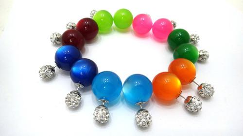 3 pares zarcillos doble perla atractivo moda fashion dual
