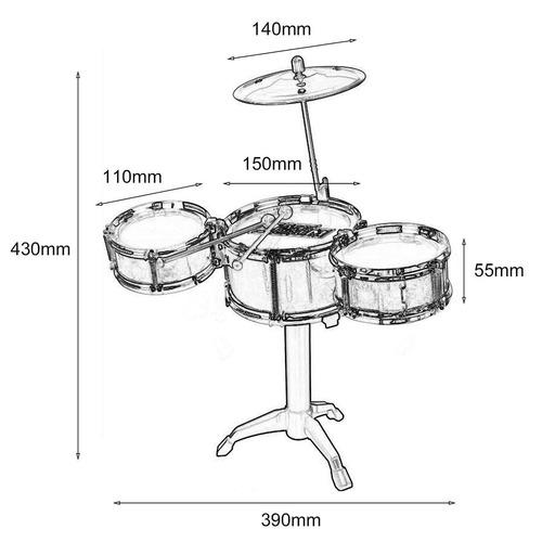 3- peça kids drum definir crianças júnior drums estojo instr