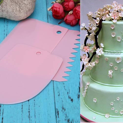 3 peines liso espatula decoración pasteles repostería