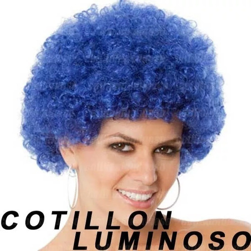 3 pelucas afro colores cotillon luminoso carioca gorro