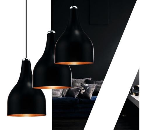 3 pendentes gota alumínio preto cobre tam p + 3 lâmpadas t45
