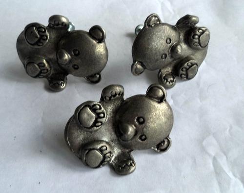 3 perillas de oso en metal, haladores, tiradores