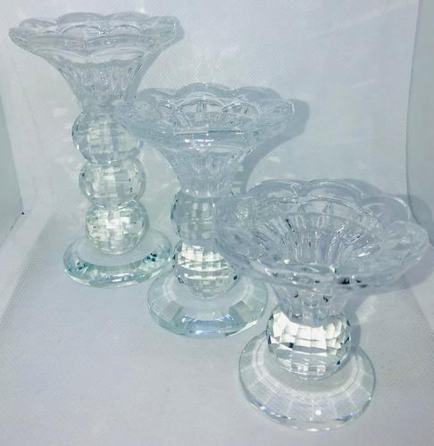 3 piezas portavela pilar candelabro cristal vidrio boda set