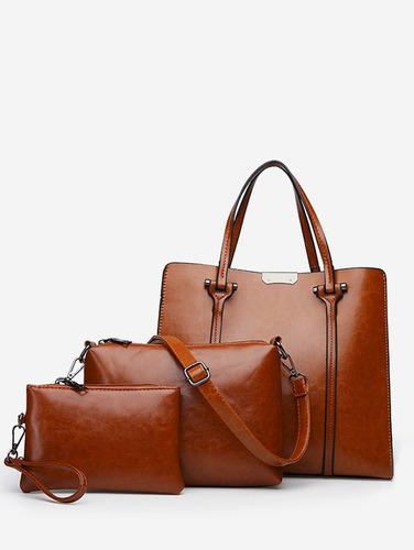 3 piezas set elegante minimalista totalizador bolsa set libr