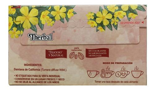 (3 piezas) té damiana de california (25 sobres) therbal