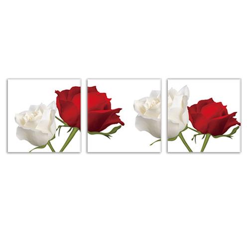 3 Pinturas De Lienzo De Dibujos Rosas Rojas Y Blancas Tama